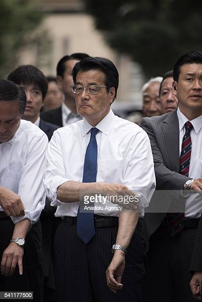 Okada Katsuya from Democratic Party attends the coalition's election event before the official start of the election campaign next week on June 19,...
