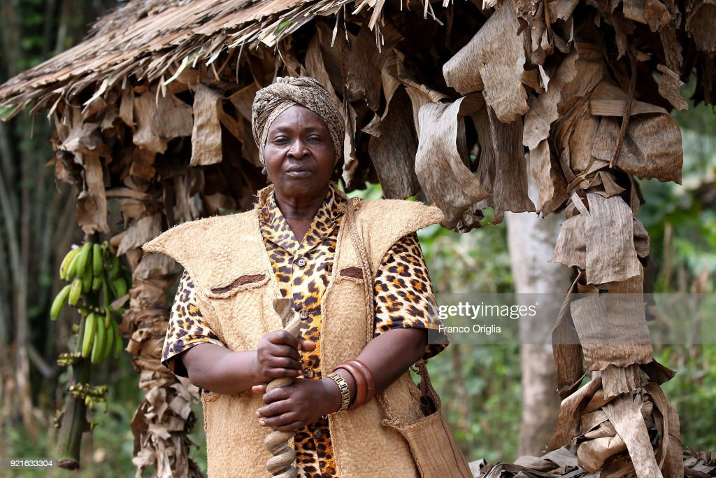 Okalla Sophie Marie Madaleine, the queen of Ekombitie village (south Yaounde) poses on February 19, 2018 in Yaounde, Cameroon. Cameroon is often referred to as 'Africa in miniature' for its geological and cultural diversity. Natural features include beaches, deserts, mountains, rainforests, and savannas.