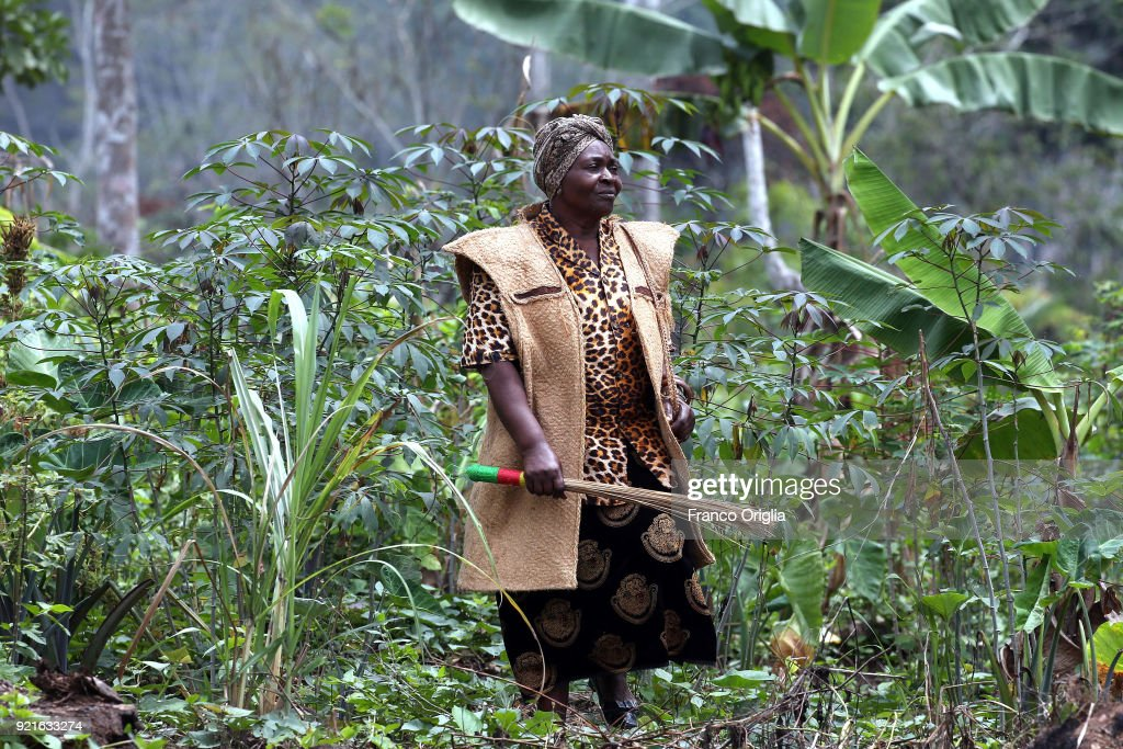 Okalla Sophie Marie Madaleine, the queen of Ekombitie village (south Yaounde) walks in the forest on February 19, 2018 in Yaounde, Cameroon. Cameroon is often referred to as 'Africa in miniature' for its geological and cultural diversity. Natural features include beaches, deserts, mountains, rainforests, and savannas.