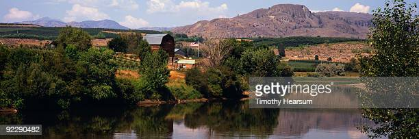 okanogan river with orchards, farm buildings - timothy hearsum stockfoto's en -beelden