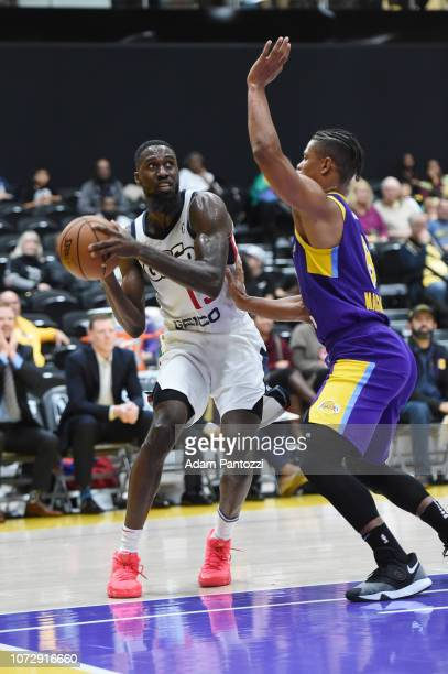 Okario White of the Capital City GoGo drives the basketball against the South Bay Lakers on December 13 2018 at UCLA Heath Training Center in El...