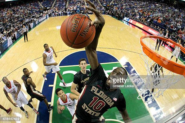 Okaro White of the Florida State Seminoles goes up to block a shot against the Maryland Terrapins during the second round of the 2014 Men's ACC...