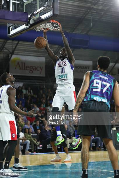 Okaro White of the Long Island Nets dunks against Isaiah Wilkins of the Greensboro Swarm in Greensboro North Carolina NOTE TO USER User expressly...