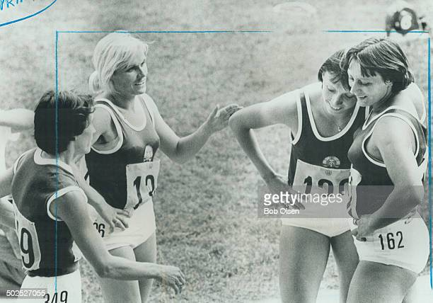 Okay I believed it A relieved Baerbel Eckert of East Germany second from right smiles after being convinced by opponents in 200metre final that she's...