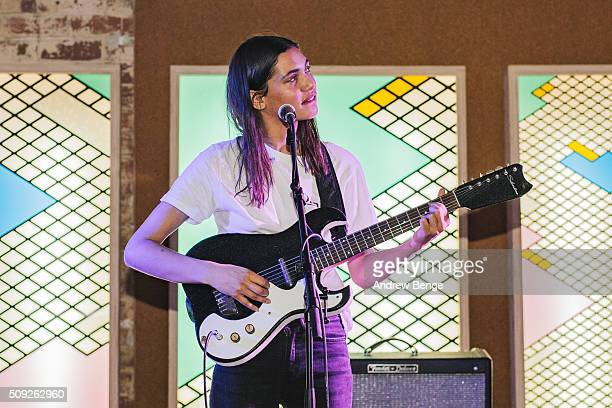 Okay Kaya performs on stage at Headrow House on February 9, 2016 in Leeds, England.