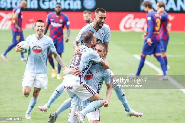 Okay Yokuslu of Celta de Vigo celebrate a goal during the spanish league LaLiga football match played between Celta de Vigo and FC Barcelona at...