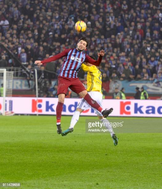 Okay Yokuslu of Trabzonspor in action during a Turkish Super Lig match between Trabzonspor and Fenerbahce at Medical Park Stadium in Trabzon Turkey...