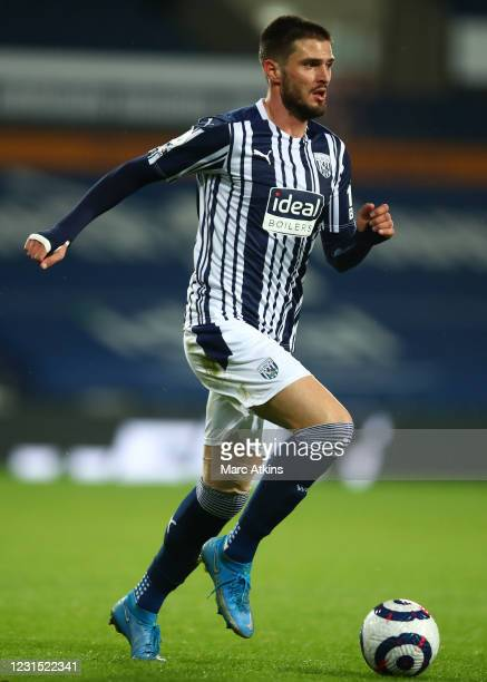 Okay Yokuslu of West Bromwich Albion during the Premier League match between West Bromwich Albion and Everton at The Hawthorns on March 4, 2021 in...