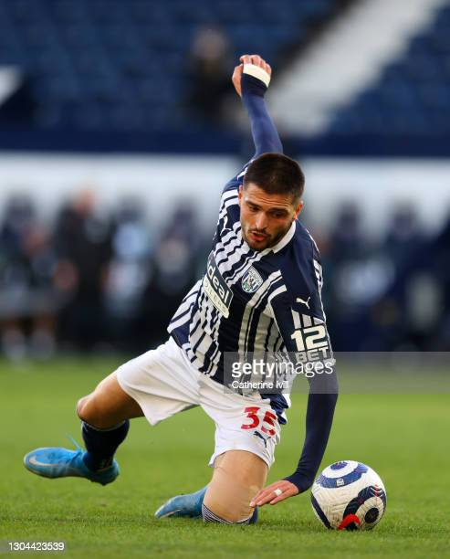 Okay Yokuslu of West Bromwich Albion during the Premier League match between West Bromwich Albion and Brighton & Hove Albion at The Hawthorns on...