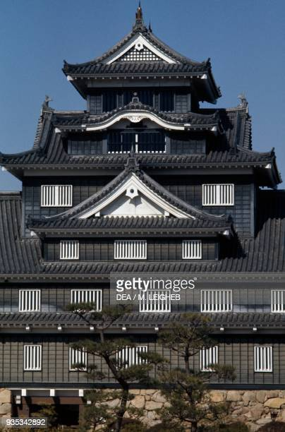 Okayama Castle also known as Crow Castle rebuilt in 1966 Japan Detail