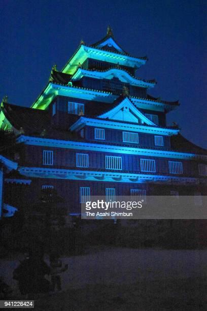 Okayama Castle is illuminated in blue on World Autism Awareness Day on April 2 2018 in Okayama Japan