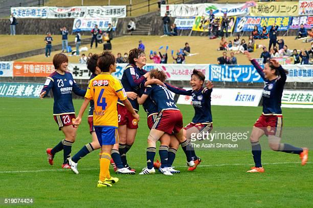 Okayama Yunogo Belle players celebrate their second goal during the Nadeshiko League match between Okayama Yunogo Belle and Vegalta Sendai Ladies at...