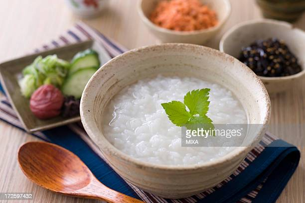 okayu - congee stock photos and pictures