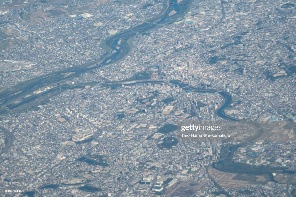 Okazaki city in Aichi prefecture in Japan daytime aerial view from airplane : ストックフォト