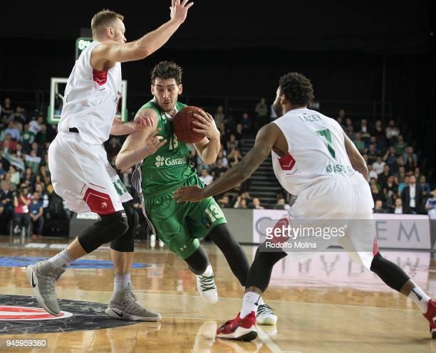 Okben Ulubay #13 of Darussafaka Istanbul in action during the 7DAYS EuroCup Basketball Finals game two between Darussafaka Istanbul v Lokomotiv Kuban...
