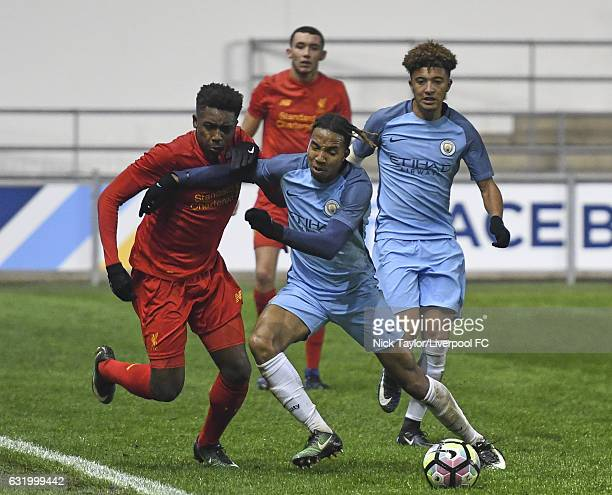Okera Simmonds of Liverpool and Demeaco Duhaney of Manchester City in action during the Manchester City v Liverpool FA Youth Cup game at Etihad...