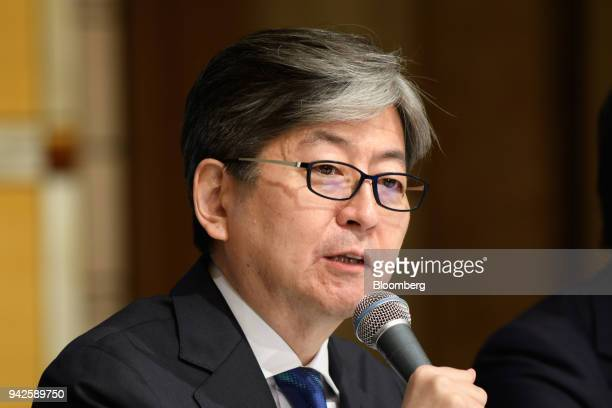 Oki Matsumoto president and chief executive officer of Monex Group Inc speaks during a news conference in Tokyo Japan on Friday April 6 2018...