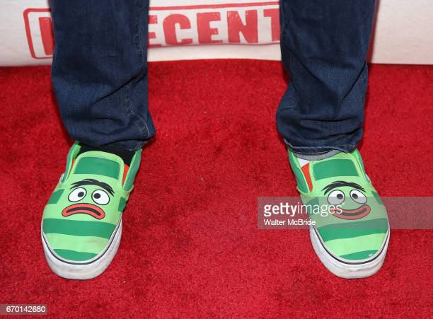 Okieriete 'Oak' Onaodowan shoe detail attends the Broadway Opening Night Performance of 'Indecent' at The Cort Theatre on April 18 2017 in New York...