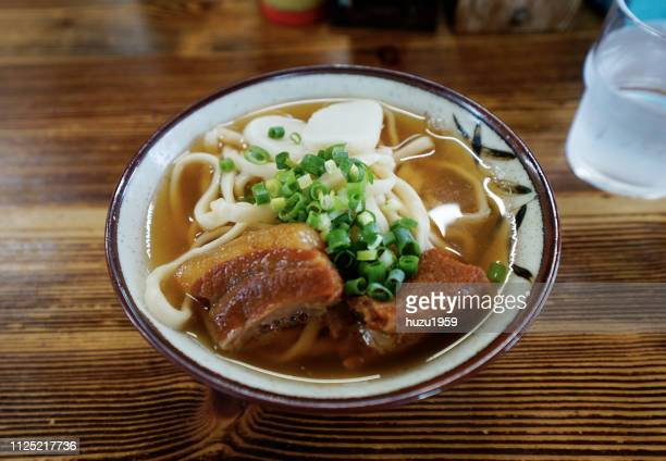 okinawa soba (okinawa traditional noodle) - okinawa prefecture stock pictures, royalty-free photos & images