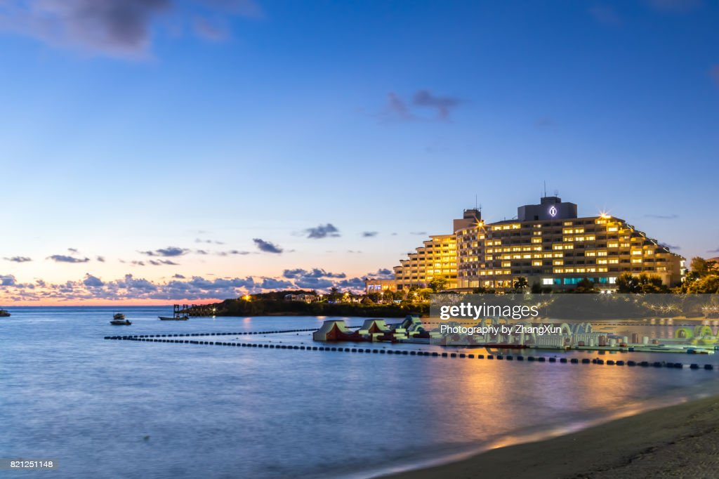 Okinawa Sunset Skyline At Manza Beach With The Background Of Sea