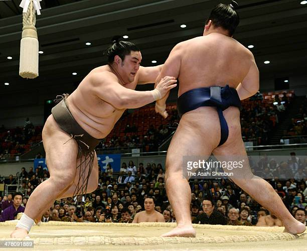 Okinoumi pushes Mongolian ozeki Kakuryu whose real name is Mangaljalavyn Anand out of the ring to win during day three of the Grand Sumo Spring...