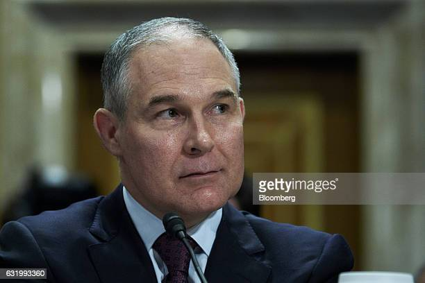 Oklahoma Attorney General Scott Pruitt, administrator of the Environmental Protection Agency nominee for U.S. President-elect Donald Trump, listens...