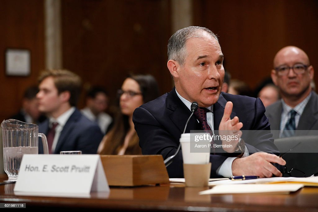 Senate Holds Confirmation Hearing For Scott Pruitt To Become EPA Administrator : News Photo