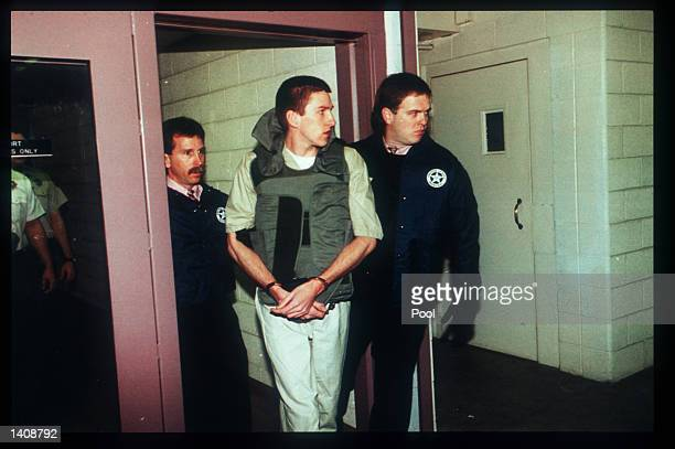 Oklahoma bombing suspect Timothy McVeigh arrives at court January 31 1996 in Oklahoma City OK The government believes that McVeigh took it upon...