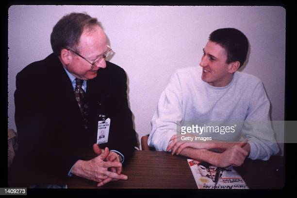 Oklahoma bombing suspect Timothy McVeigh speaks to his attorney Stephen Jones April 8 1996 in Oklahoma City OK The government believes that McVeigh...