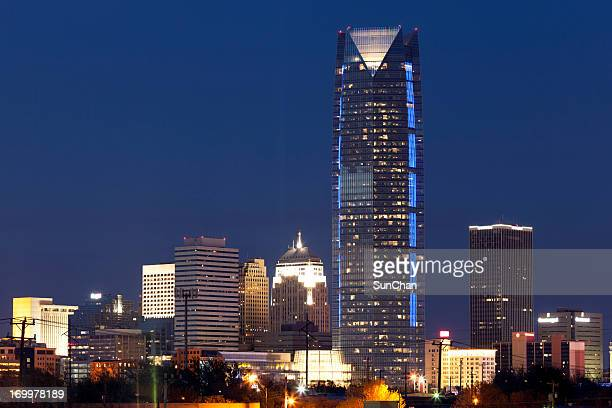 oklahoma city at night - oklahoma city stock pictures, royalty-free photos & images