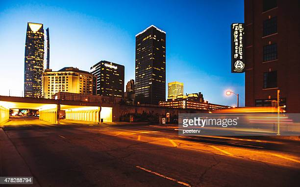 oklahoma city by night. - oklahoma city stock pictures, royalty-free photos & images