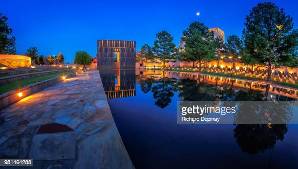 oklahoma city national memorial at night, oklahoma city, oklahoma, usa - oklahoma city stock pictures, royalty-free photos & images