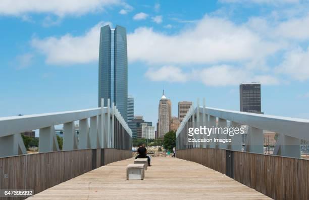 Oklahoma City Oklahoma OK, OKC, city skyline from Sky Dance Bridge over Expressway of downtown .
