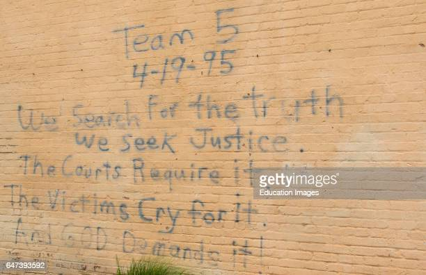 Oklahoma City Oklahoma OK OKC historical disaster OKC bombing remains at OKC Bombing Memorial that happened on April 19 1995 rescue writing on wall