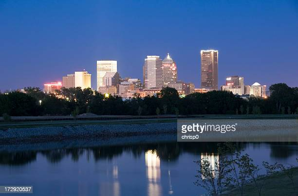 oklahoma city skyline at twilight - oklahoma city stock pictures, royalty-free photos & images