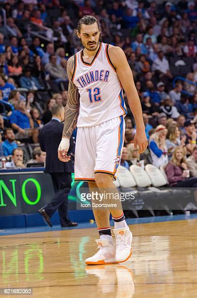 Oklahoma City Thunder Center Steven Adams walks off the bumps and bruises from this ankle and wrist versus the Miami Heat November 7 at the...