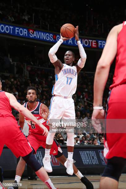 Oklahoma City Thunder guard Dennis Schroder shoots the ball during the game against the Washington Wizards on November 2 2018 at Capital One Arena in...