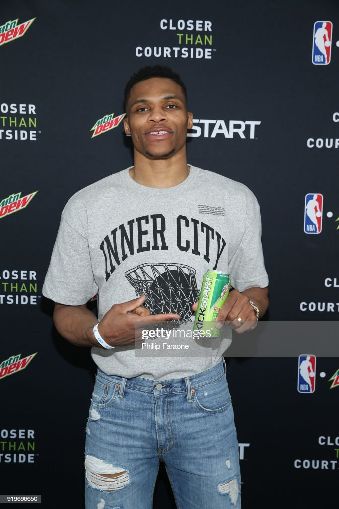 Oklahoma City Thunder guard, Russell Westbrook attends Mtn Dew Kickstart Courtside Studios at NBA All-Star 2018 in Los Angeles, Saturday, February 17, 2018.