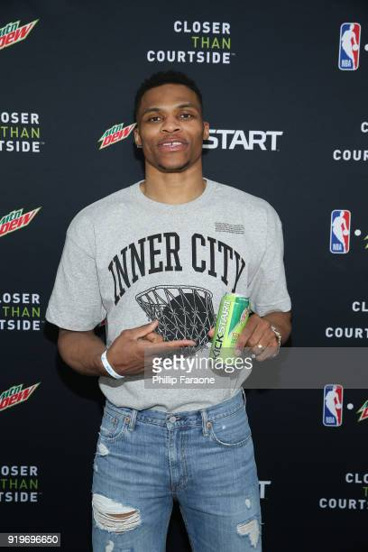 Oklahoma City Thunder guard Russell Westbrook attends Mtn Dew Kickstart Courtside Studios at NBA AllStar 2018 in Los Angeles Saturday February 17 2018