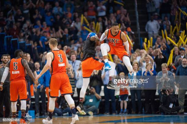 Oklahoma City Thunder Guard Russell Westbrook celebrating a good play versus Portland Trail Blazers on February 5 at the Chesapeake Energy Arena...