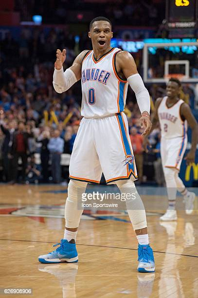 Oklahoma City Thunder Guard Russell Westbrook celebrating after a phenomenal play versus Washington Wizards on November 30 at the Chesapeake Energy...