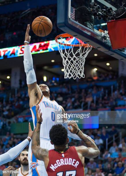 Oklahoma City Thunder Guard Russell Westbrook going up for a rebound versus Miami Heat on March 23 2018 at Chesapeake Energy Arena in Oklahoma City...