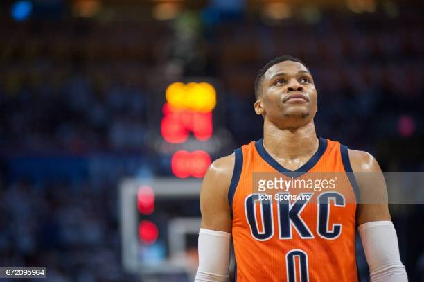 Oklahoma City Thunder Guard Russell Westbrook in game versus Houston Rockets during the game 4 of the first round of the NBA Western Conference...