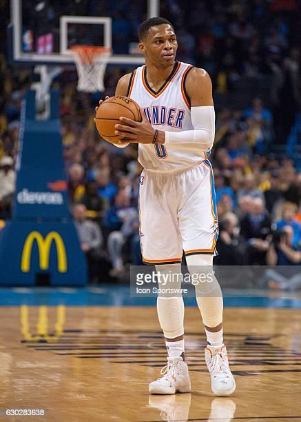 Oklahoma City Thunder Guard Russell Westbrook looking for a play versus Atlanta Hawks on December 19 at the Chesapeake Energy Arena Oklahoma City OK