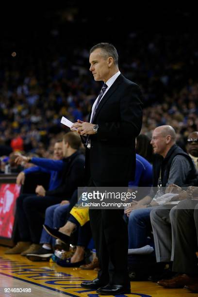 Oklahoma City Thunder head coach Billy Donovan looks from the bench during the game against the Golden State Warriors at ORACLE Arena on February 24...