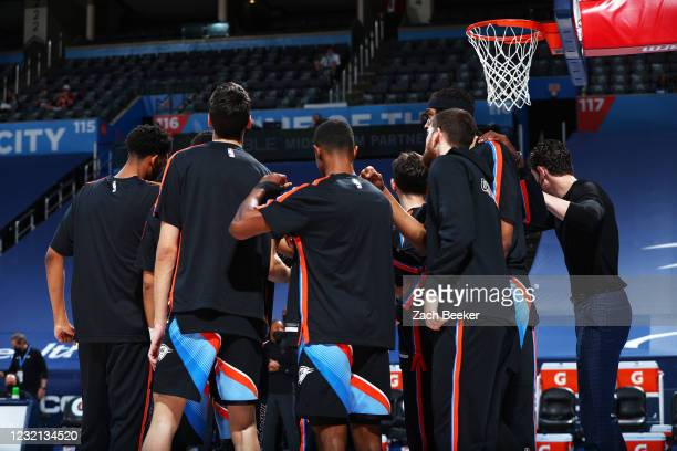 Oklahoma City Thunder huddles up before the game against the Detroit Pistons on April 5, 2021 at Chesapeake Energy Arena in Oklahoma City, Oklahoma....