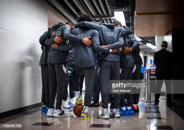 Oklahoma City Thunder huddles up before the game on February 25, 2020 at the United Center in Chicago, Illinois. NOTE TO USER: User expressly...