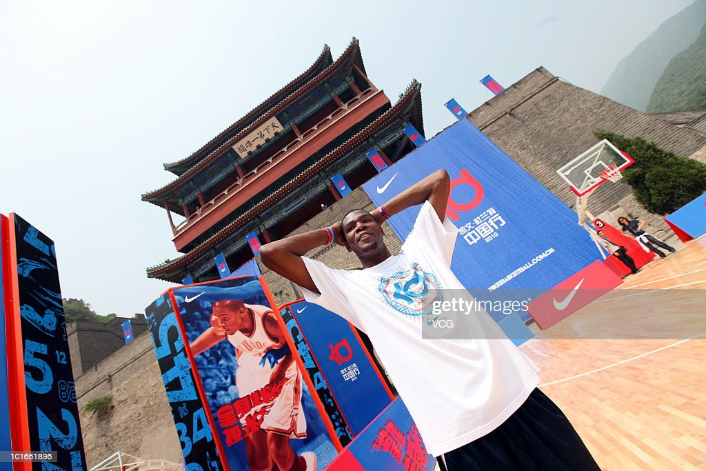 Oklahoma City Thunder NBL player Kevin Durant poses at The Great Wall on June 4, 2010 in Beijing of China.