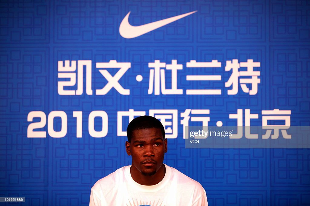 Oklahoma City Thunder NBL player Kevin Durant talks to the media during a press conference at The Great Wall on June 4, 2010 in Beijing of China.