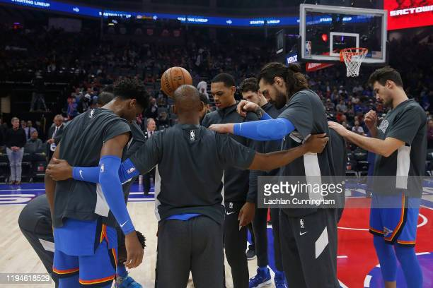 Oklahoma City Thunder players huddle up before the game against the Sacramento Kings at Golden 1 Center on December 11, 2019 in Sacramento,...